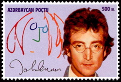 John Lennon self-portrait and photo on a 1995 Azerbaijan stamp