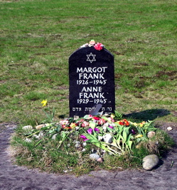 Anne and Margot Frank's symbolic headstone at Bergen-Belsen