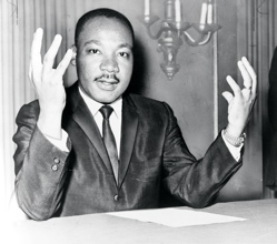 Martin Luther King gets ready to write