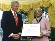 President Clinton with Rosa Parks after she received the Congressional Gold Medal