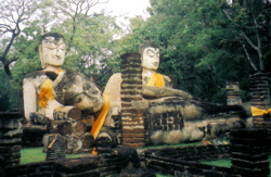 Three huge statues of Gautama Buddha in Thailand