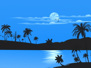 Blue sky and water with palm trees, and three birds flying by the moon
