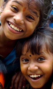 two joyful young Indian girls