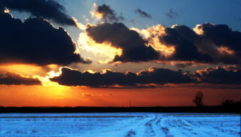 A glorious winter sunset illuminates the entire landscape