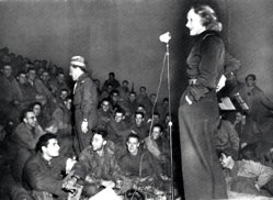 Marlene Dietrich entertains WWII troops