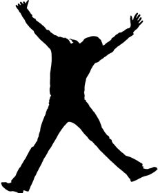 the silhouette of a man jumping for joy